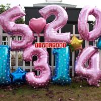 Balon Foil Angka Jumbo Biru & Pink Uk. 100 Cm