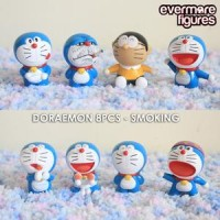 Action Figure Pajangan Doraemon Smoking Set 8 Pcs Terlaris
