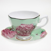 harga Shabby Chic Teacup Green Pink Flower set Tokopedia.com