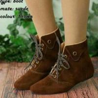 harga Sepatu Flat Boot Boots Tali Wanita Korea Coklat Tokopedia.com