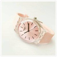 Jam Tangan Swatch Irony Transparan Pink Dan Abu Best Seller Watch