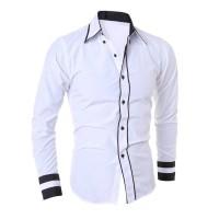 [hem randhy white OT] pakaian pria kemeja slim fit warna putih