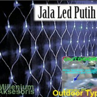 Jual Lampu Hias Dekorasi Led Model Jala (Jaring) Putih Outdoor Type 100 Led Murah