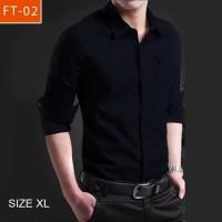 Baju HEM atasan Pria SIZE XL MILER ARMY warna HITAM Slimfit keren