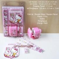 Hello Kitty Rautan Meja Or Rautan Pensil Putar + ATK 1set