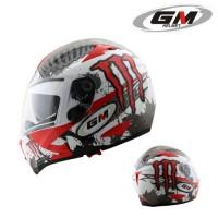 Helm GM Airborne Full Face Monster Visor Red Fullface Airbone