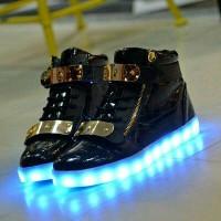 Jual sepatu LED boot black Murah