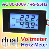 Dual AC Volt + Hertz Meter LCD Voltmeter Tegangan PLN Genset Frequency