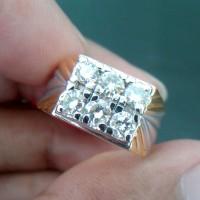Cincin Pria Berlian Gugur 7 Banjar 0283 Ring Emas