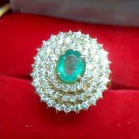 Cincin Wanita Berlian Eropa Mata Zamrud 0279 Ring Emas