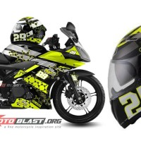 Decal Striping Yamaha R15-BLACKHELMET VENDETTA ANDREA IANNONE-WHITE
