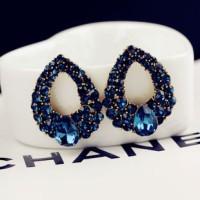 anting berlian saphire / wind drops sapphire diamond earrings JAN021