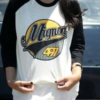 harga T-shirt / Kaos Raglan Distro Mignon 497 Original Putih Hitam Tokopedia.com