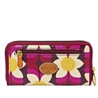 Fossil wallet key per Dark Pink Floral