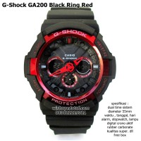 Jam Tangan Casio Gshock Ga 200 Dual Time Kw Super Black Ring Red