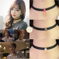 Choker Rivet Diamond Pearl Pendant Kalung Korea Kdrama Kpop Red Velvet