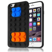 3D Building Blocks Brick Style Soft Silicone Case for iPhone 6 - Black