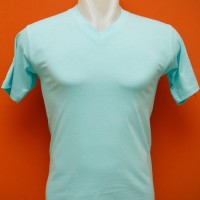 Jual Kaos Polos Vneck V-neck 20s 30s Cotton Combed Biru Tosca Light Blue Murah