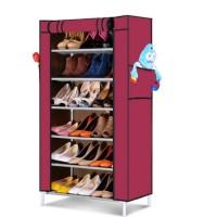Rak Sepatu Kain Lemari Packing 7 Tingkat Susun 6 Ruang