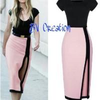 Jual dress hitam pink / bodycon / strech / gaun pesta belah / BAGUS / MURAH Murah