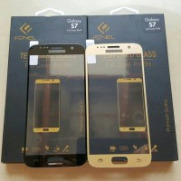 Samsung S7 Flat Fonel FULL COVER Tempered Glass Black n Gold
