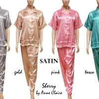 SHERRY Piyama Satin Full Kancing Bukaan Depan Baju Tidur Mewah Murah