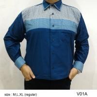 Baju Kemeja Batik Regular Fit V01A (Fashion Pria Jas Dasi Muslim Koko
