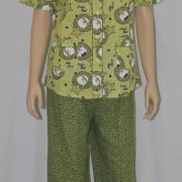 baju tidur/piyama dewasa motif little owl celana panjang kerah batik