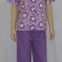Baju Tidur Wanita Motif Little Owl Celana Panjang Kerah Sabrina