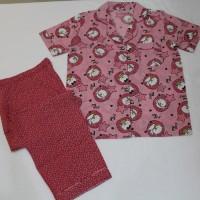 baju tidur/piyama wanita motif little owl celana panjang kerah sabrina