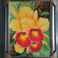 Lukisan Kanvas Bunga Bingkai Fiber