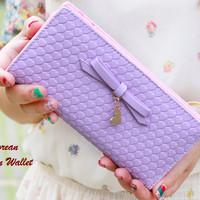 Dompet Pita banyak Sekat | Korean Ribbon Wallet Purple | Korean Style