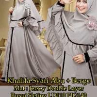baju muslim wanita,baju wanita khalifa syari warna abu