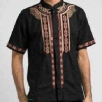 Koko Istambul Hitam Coklat Baju kemeja pria Muslim murah Formal