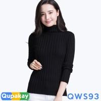 Sweater Wanita Turtle Neck Cotton Rajut Halus Kualitas Premium QWS93 - SEPERTI FOTO, XS