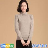 Sweater Wanita Turtle Neck Cotton Rajut Halus Kualitas Premium QWS69 - SEPERTI FOTO, XS