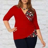 harga Heart Shape Accent Blouse Pakaian baju Wanita Besar (Big Size) BSS272 Tokopedia.com