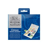 COTMAN Water Colours The Compact Set 14 Half Pans With Brush
