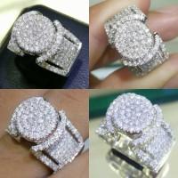 Cincin Emas Putih Full Berlian Eropa