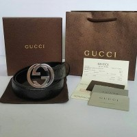 JUAL BELT GUCCI BLACK EMBOSS G BUCKLE SILVER MIRROR QUALITY