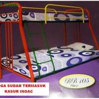 Ranjang Susun Tingkat + Kasur No. 3/4 BB. 105 Tempat Tidur Besi Cantik