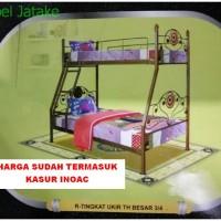 Ranjang Susun Tingkat + Kasur No. 3/4 Ukir TH Besar Tempat Tidur Besi