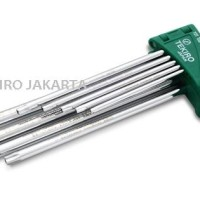 Tekiro Kunci L Bintang Panjang - Tamper Torx Key Long Set 9 Pcs Lubang