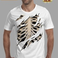 kaos 3d/baju/distro/switer/tshirt pria keren tulang tengkorak putih