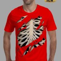 kaos 3d/baju/distro/switer/tshirt pria keren tengkorak tulang manusia