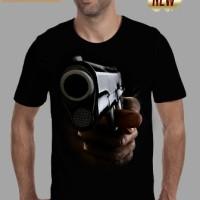 Jual kaos 3d pria/switer/keren/distro/baju/tshirt senjata gan pistol hitam Murah