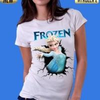 kaos 3d/baju/distro/switer/tshirt film kartun anak barbie frozen putih