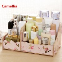 Desktop storage Rak kosmetik bahan kayu kotak kuas make up kutek 025