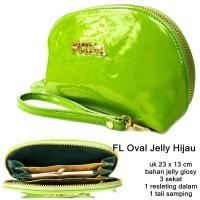 dompet wanita organaizer furrla oval jelly hijau