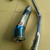 Knalpot Honda New Sonic 150 Akrapovic Megaphone Biru Fullset Termurah